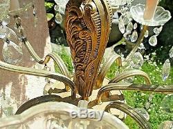 Ancien grand lustre Louis XV à pampilles en cristal et bronze doré-12 branches
