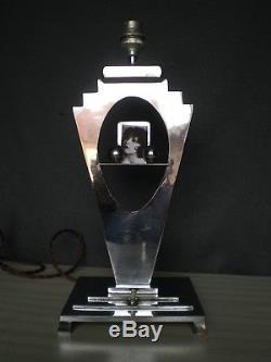 Ancien lampe porte photo art deco 1930 en bronze ou laiton argenté antique lamp