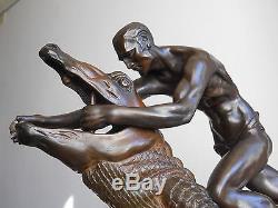 Ancienne Grande Sculpture Statue Art Deco-Nu Masculin Crocodile-Patine Bronze