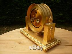 Ancienne Horloge Pendule Bronze Dore Hour Lavigne Mouvement Mecanique