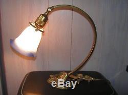 Ancienne Lampe Bureau/loft En Bronze Pate De Verre Art Nouveau Le Verre Francais