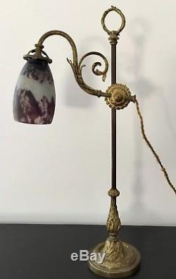 Ancienne Lampe bureau en bronze doré Tulipe Daum nancy ART DECO Breveté Sgdg