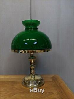 Ancienne Lampe de Bureau en Bronze et Opaline Vert