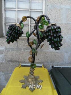 Ancienne Lampe tulipe grappes de raisins verre Murano et bronze art deco lamp