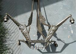 Ancienne Monture De Lustre Suspension Epoque Art Deco 1930 Bronze Nickele