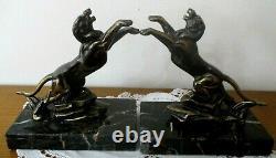 Ancienne PAIRE de SERRE LIVRE Art Déco panthère bronze régule doré sur marbre