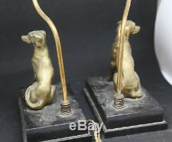 Ancienne Paire De Lampe Aux Chiens En Bronze Socle Marbre Noir