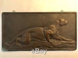 Ancienne Plaque Bronze Hippolyte PEYROL lionne Art Deco Modernist Début XXeme