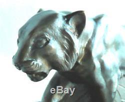 Ancienne Sculpture Statue Art Deco en Bronze Panthère