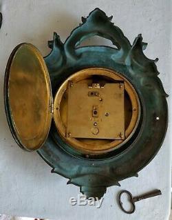Ancienne pendule murale en bronze Samuel MARTI / Rocaille Art nouveau / Déco