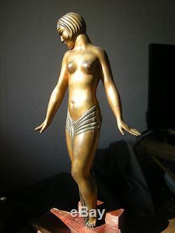 Ancienne sculpture art deco en bronze femme danseuse antique statue woman dancer