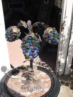 Ancienne Vintage Lampe Tulipe Grappe De Raisin Pate De