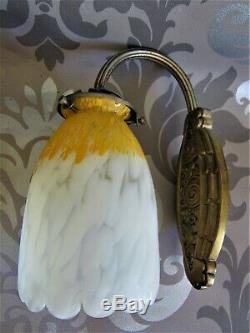 Applique bronze nickelé tulipe pâte de verre SCHNEIDER DELATTE MULLER ART DÉCO