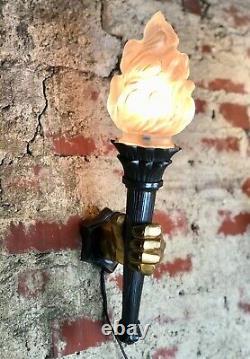 Appliques (paire) torchères mains Art Déco en bronze deux patines style Dévoluy