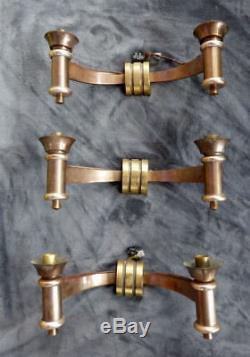 Art Deco - 3 Splendides Appliques bronze cuivré sconces 1930