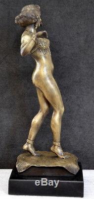Art Déco Figure de Bronze Orientale Danseuse Signé Prix sur Socle en Marbre