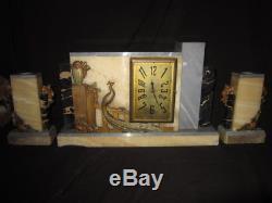 Art Deco Pendule Cheminee Marbre Bronze Signe Trois Pieces