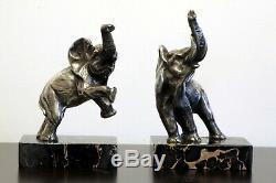 Art déco serres livres éléphants bronze par louis fontinelle