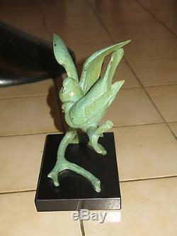 Becquerel Beau Bronze Art Deco A Patine Verte Mesanges La Declaration Signe