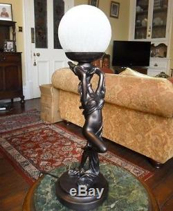 BEDSIDE LIGHT ART DECO LADY LAMP BRONZE FIGURINE STATUE SIDE TABLE LAMP BEDROOM