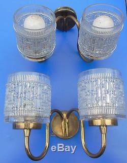 BELLE paire d' Appliques en bronze et verre GRANITÉ