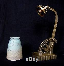 BORETTI & SCHNEIDER Lampe art déco bronze pâte de verre tulipe signé ancien