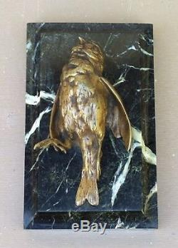BRONZE animalier OISEAU signé COMOLERA SUSSE FRÈRES sur marbre ART DÉCO 19ème