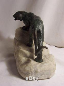 BRONZE animalier TIGRE socle MARBRE blanc sculpté 1930 art déco