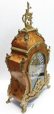 Beau grand CARTEL bois de rose bronze pendule horloge milieu XXème siècle