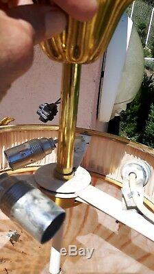 Beau lustre plafonnier bronze verrerie et tissus style art deco