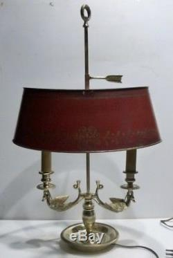 Belle LAMPE BOUILLOTTE Ancienne en Bronze et Abat-jour en Tôle