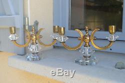 Belle Paire de Bougeoirs Chandeliers Bronze et Cristal Style Art Déco Era Leleu