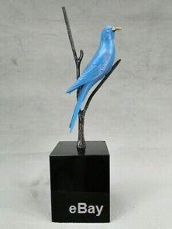 Belle Sculpture Bronze Animalier Art Deco Oiseau Bleu Par Irenee Rochard