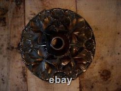 Belle et grande base de lampe Art Deco Nouveau en bronze, 29 cm diametre