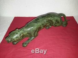 Belle sculture animalière panthère/ Guépard en bronze patiné 1930 art deco