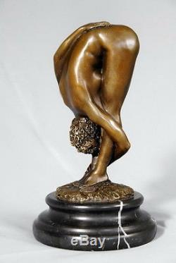 Belle statuette érotique signée Juno- Art déco- bronze véritable, envoi gratuit