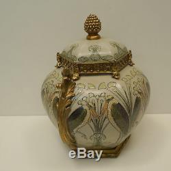 Boite Bijoux Marabout Oiseau Style Art Deco Style Art Nouveau Porcelaine Bronze