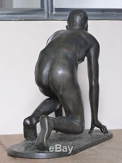 Bronze Art Déco 1930 A. Büschelberger Départ de course Jeune Homme Nu