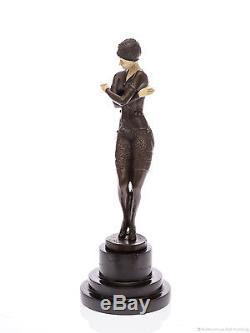 Bronze Bronzefigur Tänzerin Skulptur Sculpture im Art Deco Deko Stil Figur 38cm
