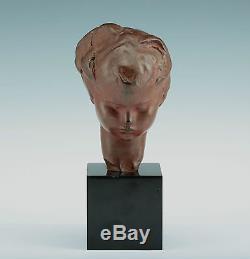 Bronze Sculpture A. Gennarelli 1920 Tête de Enfant Signé Art Déco France