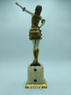 Bronze Signé Style Chryséléphantine Art Déco Fernand Paris Danseuse CabaretXXème