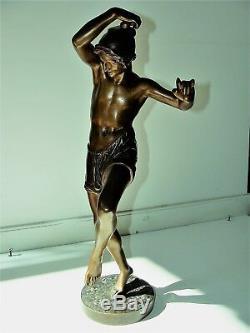 Bronze XIX° pêcheur danse socle signé F. DURET napolitain