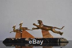Bronze chryséléphantine Art déco 1930 au tigre chassant des gazelles