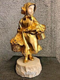 Bronze chryséléphantine petite fille aux paniers signé GORY (1895-1925)