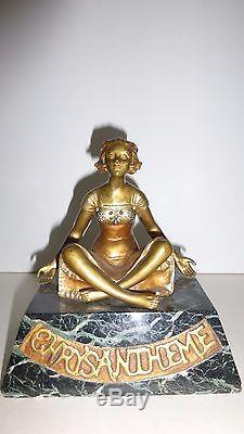 Bronze doré art déco CHRYSANTHEMES Jeune femme assise SOMME Théophile
