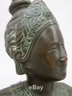 Buste en bronze danseuse cambodgienne Indochine Vietnam Asie Cambodge Art Déco