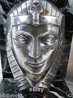 C. Charles Ancienne Paire Serre Livre Bronze Art Deco Pharaon Antique French Art