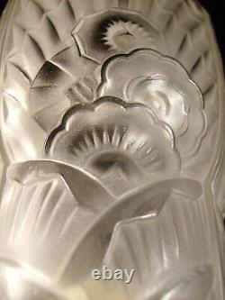 C. Ranc & Ejg Paire Dappliques Art Déco En Bronze & Tulipes Verre Pressé 1930