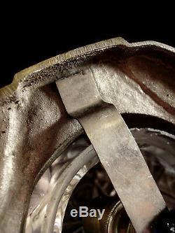 C. Ranc Veilleuse Art Déco Moderniste En Bronze Nickelé & Globe En Verre Pressé