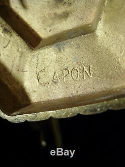 Capon Frères Grande Applique Double Art Déco Signée Bronze & Tulipes Schneider